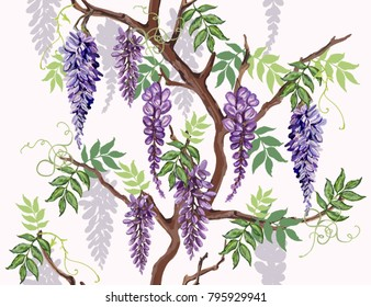 Beautiful seamless vector floral summer pattern background with tropical flowers, wisteria. Perfect for wallpapers, web page backgrounds, surface textures, textile.