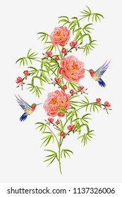 Beautiful seamless vector floral summerillustration background with bamboo branches, birds, peony sakura flowers. Perfect for wallpapers, web page backgrounds, surface textures, textile.