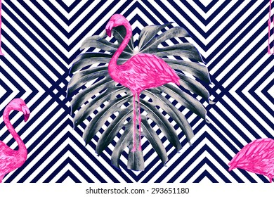 Beautiful seamless vector floral tropical pattern background with watercolor pink flamingos and jungle leaves. Abstract stripped geometric texture