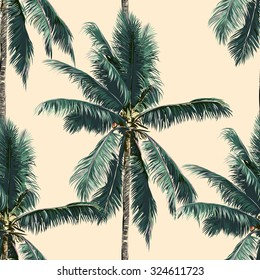 Beautiful seamless vector floral tropical pattern background with palm trees