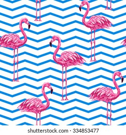 Beautiful seamless vector floral tropical pattern background with pink flamingos. Abstract chevrons geometric texture