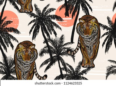 Beautiful seamless vector japanese  summer pattern background with tropical palm trees, tiger, sunrise. Perfect for wallpapers, web page backgrounds, surface textures, textile. The janapese ornament