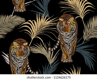 Beautiful seamless vector japanese  summer pattern background with tropical palm leaves, tiger. Perfect for wallpapers, web page backgrounds, surface textures, textile. Janapese fashion ornament.