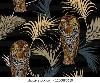 Beautiful seamless vector japanese  summer pattern background with tropical palm leaves, tiger. Perfect for wallpapers, web page backgrounds, surface textures, textile. Janapese fashion ornament