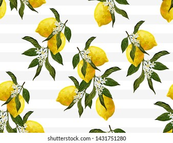 Beautiful seamless vector pattern with  lemons and flowers. Abstract  texture. Perfect for wallpapers, web page backgrounds, surface textures, textile design.