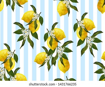 Beautiful seamless vector pattern with  lemons and flowers. Abstract  texture, blue stripes. Perfect for wallpapers, web page backgrounds, surface textures, textile design.