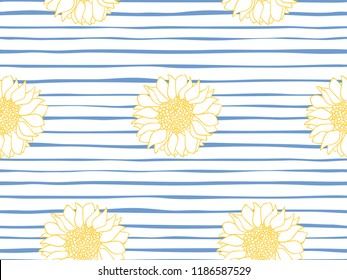 Beautiful seamless  vector pattern of sunflowers on a striped blue and white. Floral seamless pattern. Marine stripe