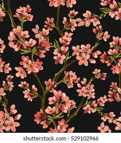 Beautiful seamless vector pattern with tropical japanese flowers, tree, spring wallpaper, branches. Perfect for wallpapers, web page backgrounds, surface textures, textile.