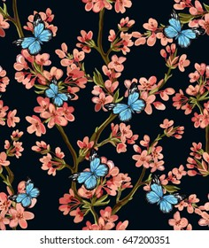 Beautiful seamless vector pattern with tropical japanese flowers, tree, spring wallpaper, branches, butterflies. Perfect for wallpapers, web page backgrounds, surface textures, textile.