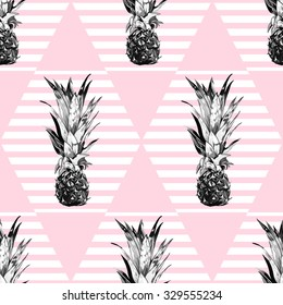 Beautiful seamless vector retro floral tropical pattern background with pineapples, abstract striped geometric texture