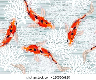 Beautiful seamless vector spring summer pattern background with  koi fish, corals. Perfect for wallpapers, web page backgrounds, surface textures, textile.