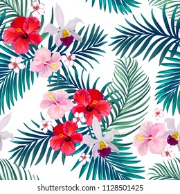 Beautiful seamless vector summer pattern background with tropical palm leaves and hibiscus. Template for wallpapers, web page backgrounds, surface textures, textile