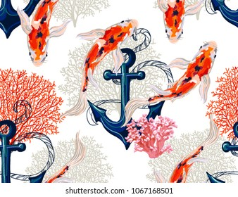Beautiful seamless vector tropical pattern with koi fish, anchor, corals. Abstract geometric texture, stripes. Perfect for wallpapers, web page backgrounds, surface textures, textile.