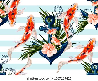 Beautiful seamless vector tropical pattern with koi fish, anchor, hibiscus, palm leaves. Abstract geometric texture, stripes. Perfect for wallpapers, web page backgrounds, surface textures, textile.