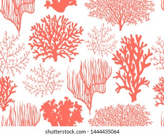 Beautiful seamless vector tropical pattern with corals. Perfect for wallpapers, web page backgrounds, surface textures, textile. Living coral seamless pattern