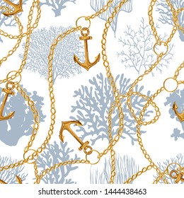 Beautiful seamless vector tropical pattern with corals, baroque chains, anchors. Perfect for wallpapers, web page backgrounds, surface textures, textile. Living coral seamless pattern