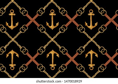 Beautiful seamless vector tropical pattern with anchors, chains, belts. Abstract geometric texture, stripes. Perfect for wallpapers, web page backgrounds, surface textures, textile.