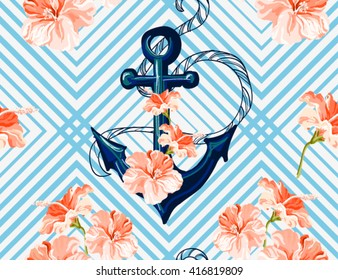 Beautiful seamless vector  tropical pattern background with  anchor and hibiscus. Abstract  geometric texture, stripes. Perfect for wallpapers, web page backgrounds, surface textures, textile.