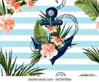 Beautiful seamless vector tropical pattern with anchor,  hibiscus, palm leaves. Abstract geometric texture, stripes. Perfect for wallpapers, web page backgrounds, surface textures, textile.