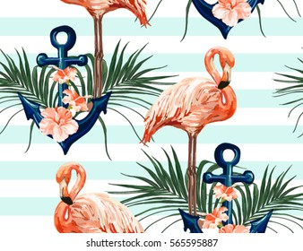 Beautiful seamless vector tropical pattern with anchor, flamingo,  hibiscus, palm leaves. Perfect for wallpapers, web page backgrounds, surface textures, textile.