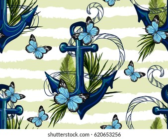 Beautiful seamless vector tropical pattern background with anchor, butterflies. Abstract geometric texture, stripes. Perfect for wallpapers, web page backgrounds, surface textures, textile.