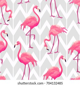 Beautiful seamless vector tropical pattern with pink flamingos on light grey geometric background. Abstract summer texture