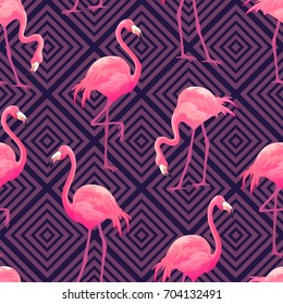 Beautiful seamless vector tropical pattern with pink flamingos on purple geometric background. Abstract summer texture