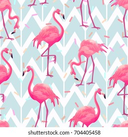 Beautiful seamless vector tropical pattern with pink flamingos on light grey geometric background.