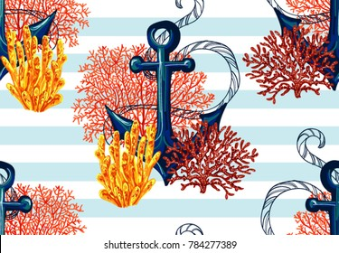 Beautiful seamless vector tropical pattern with anchor, corals. Perfect for wallpapers, web page backgrounds, surface textures, textile.