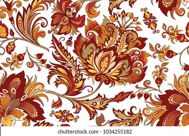 beautiful seamless vintage ornament with bright decorative gold and red flowers on a white background for design, colored vintage ornament in warm colors with abstract retro-style flowers