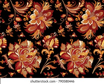 beautiful seamless vintage ornament with bright decorative golden and red flowers on a black background for design,  vintage ornament in warm tones on a dark background with  flowers in retro style