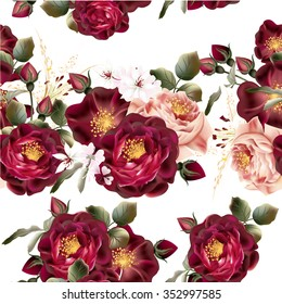 Beautiful seamless wallpaper pattern with realistic vector roses in vintage style