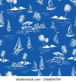 Beautiful seamless white hand sketch island pattern on ocean blue background. Landscape with palm trees,beach and ocean vector
