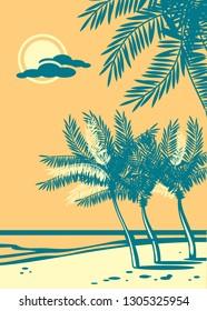 Beautiful seaside beach. Sea, sand, palm silhouette. Retro style drawing.