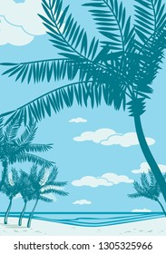 Beautiful seaside beach. Sea, sand, palm silhouette. Retro style drawing.