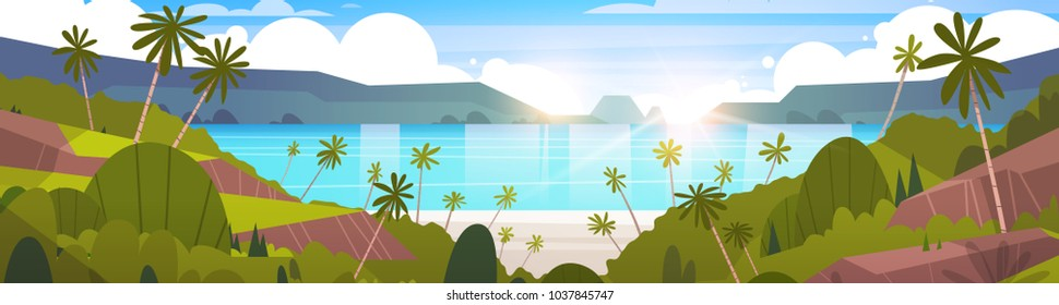 Beautiful Seaside Landscape Summer Beach With Mountains, Blue Water And Palm Trees Exotic Resort Horizon Flat Vector Illustration