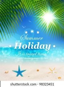 Beautiful seaside view on sunny day with sand, shells and palm leaves. Summer holidays vector background.