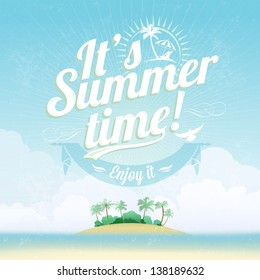 Beautiful Seaside View Poster. Vector background. With Typography. It's Summer time!