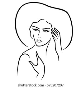 Beautiful serious young lady in the wide-brimmed hat gesticulated her hands, vector outline