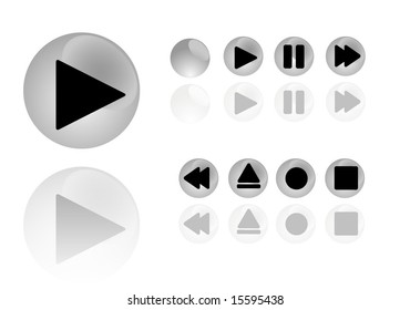 beautiful set of audio/video player buttons