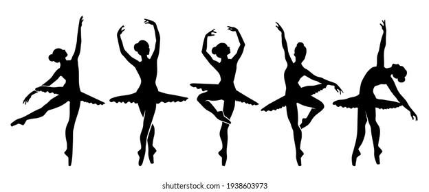 Beautiful set of ballerinas.Ballet Dancing Silhouettes.