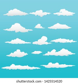 Beautiful set clouds vector with gradient color and  symbols