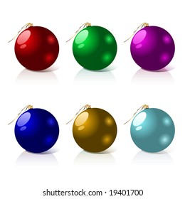 Beautiful set of colorful Christmas balls