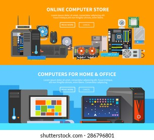Beautiful set of colorful flat vector banners on the theme: assembling a desktop computer, buy computer, computer repair . All items are created with love especially for your amazing projects.