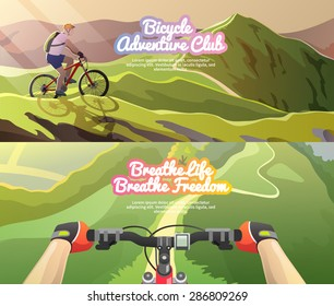 Beautiful set of colorful flat vector banners on the theme: mountain biking. All items are created with love especially for your amazing projects.