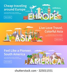 Beautiful set of flat vector banners on the theme Asia, Europe, America, summer travel, adventure, vacation. Modern flat design.
