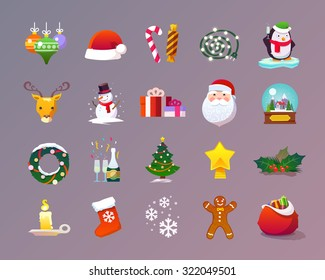 Beautiful set of flat vector icons on the theme of Christmas and New year. Christmas decorations, Christmas tree, sweets, Santa, snowman, wreath, snow, holiday, Christmas eve. Modern flat design.