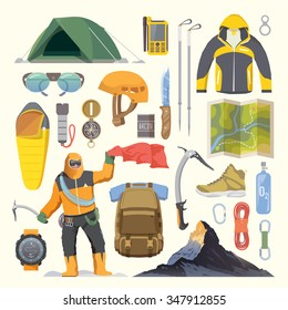 Beautiful set of flat vector icons on the theme of Climbing, Trekking, Hiking, Mountaineering. Extreme sports, outdoor recreation, adventure in the mountains, vacation. Achievement. Modern flat design