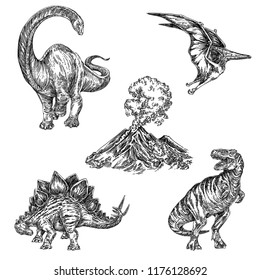 Beautiful set of prehistoric animals. Diplodocus, tyrannosaurus, pteranodon, stegosaurus and volcano. Engraving style. Vector illustration.
