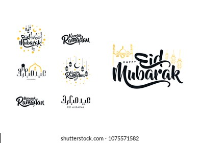 Beautiful set of typography or calligraphy of ramadan and eid mubarak emblem. Brush style lettering.